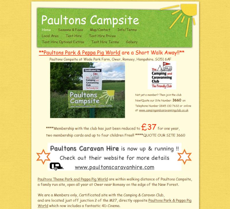 Paultons Campsite Certificated Site Caravannersrus